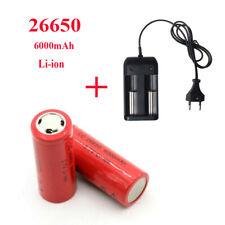Batería recargable de 26650 6000mAh 3.7V Li-ion de células de litio + cargador plano parte superior