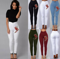 Pantaloni donna Applique floreali Slim Skinny Jeans Stretch Gonna a vita alta