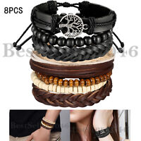 8pcs Hemp Cords Wood Beads Ethnic Tribal Wrap Bracelet Braided Leather Wristband
