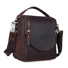 Vintage Leather Camera Bag For Canon Nikon DSLR Shoulder Messenger Bag Satchel