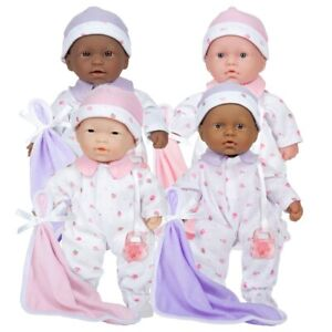 """JC Toys 11"""" Lots to Love Babies with Different Skin Tones - Set of 4"""