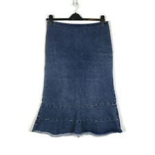 Jigsaw Blue Midi Flared Mermaid Denim Skirt Size 14