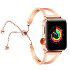Lady Stainless Steel Pendant Wrist Band Bead Clasp Strap for Apple Watch 42mm