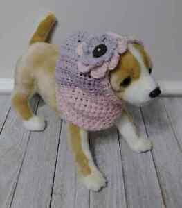 crochet pet cat dog flower hat  hood snood handmade nova pink xs small  breed