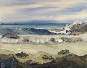 ROCKY BEACH Original Seascape Ocean Impression Oil Painting 16x20 100120 KEN