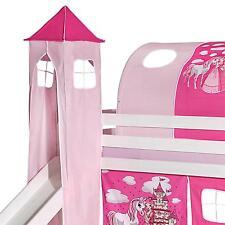 Donjon tour pour lit surélevé mi-hauteur avec toboggan tissu coton princesse