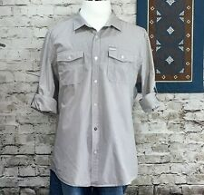 Marc Ecko Cut & Sew Mens Sz XL Button Down Long Sleeve Shirt Gray Stripe Pockets