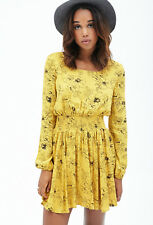 FOREVER 21 Floral Print Smocked Floral Dress In Yellow