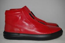 SALVATORE FERRAGAMO Red Leather Gancini Ground Hightop Sneaker Shoes Wide 11 EE