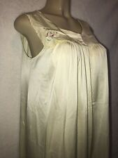Vintage Gown Yellow Shadowline Waltz Nightgown Floral Embroidery Nylon Small
