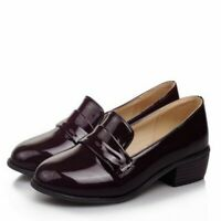 Ladies Spring Patent Leather Slip On Round Toe Low Heel Solid Casual Shoes Pumps