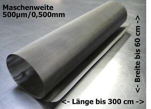Edelstahlgewebe für Trommelfilter Bogensieb usw 0,500mm 500µm // bis zu 300x60cm