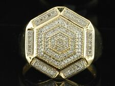 Diamond Hexagon Design Pinky Ring Mens 10K Yellow Gold Round Pave 0.33 Tcw.
