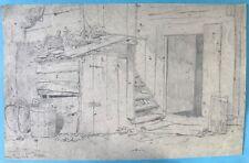 Biedermeier Bleistiftzeichnung Hauseingang Herbergshaus Heinrich Bürkel ~1840