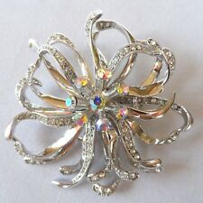 New brooch FLORAL CLUSTER silver tone pave and aurora borealis stones pin