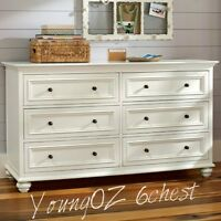 New YoungOZ Petite White Lowboy - 6 Chest of Drawers/Dresser