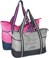 Strandtasche XXL Badetasche Freizeittasche mit verstellbarenTrägern in 2 Designs