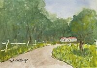 John Billings 5x7 Original Watercolor Painting #4114 Summer Farm Barn Road Fence