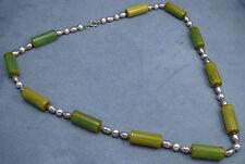 Green Bakelite & Chrome Bead Necklace