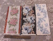 Lot Of 3 Antique French Rose Silk Ribbon Samples c1890~Frame,Dolls,Boudoir