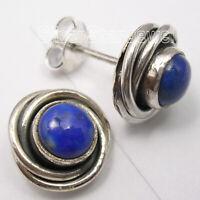 """925 Sterling Silver Classic Women Jewelry Lapis Lazuli Studs Earrings 0.4"""""""