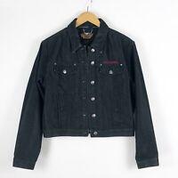 Harley Davidson Womens Jean Jacket Sz L Black Denim Embroidered Logo Large
