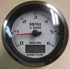 "Beede Ultra White Boat 4"" Tachometer 6000 RPM w/ Hour Meter w/ Ebbtide Logo"