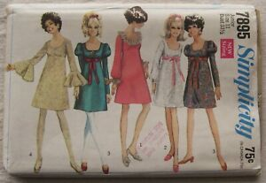 Vintage Dress Sewing Pattern*Simplicity 7895*UNCUT*Size 11*leg of mutton sleeve