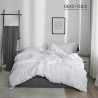 Simple&Opulence Linen Duvet Cover Sets 100% Stone Washed Solid Color Basic Style