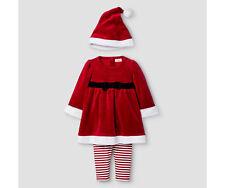 Baby Girls' 3 Piece Santa Dess Red - 3/6 month