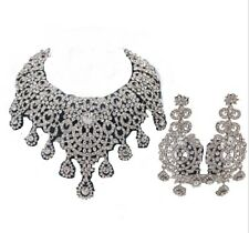 Women Accessories Wedding Bridal Crystal Statement Necklace Earring Jewelry Set