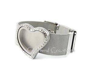 Stainless Steel Curvy Heart Floating Charm Locket Bracelet Adjustable Mesh Band
