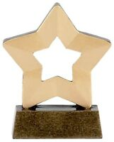 PACK OF 10 GOLD STAR MINI STAR TROPHY SCHOOL AWARD 8CM A958 FREE ENGRAVING GMS