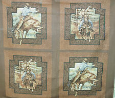 1 Yd Western Cowboy Quilt Fabric Pillow Panel Rodeo Rider Brown Woven Look Frame