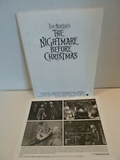 NIGHTMARE BEFORE CHRISTMAS MOVIE PRESS KIT PHOTO WITH BOOKLET
