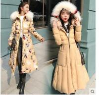 Women Floral Coat Belt Slim Fit Down Jacket Winter Hooded Faux Fox Fur Collar