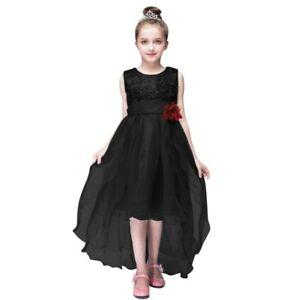 Girl Child Kid Party Formal Pageant Birthday Wedding Dress BLACK SIZE 4 6 8
