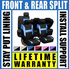 Blue & Black Complete Full Car Seat Covers Set - OEM Split Fold Truck SUV Gso