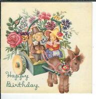 AO-006 Brownie Happy Birthday Greetings Boy Girl Donkey Cart 10 B 322 1940's