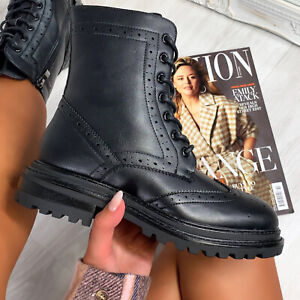 New Womens Chunky Sole Zipped Ankle Biker Boot Shoes Sizes 3-8