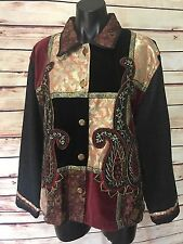 Shaver Lake Embroidered Denim Jacket Size L Multi-Color 100% Cotton Long Sleeve
