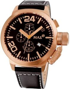 Max XL Men's Quartz Watch with Black Dial Analogue Display and Black Leather Str