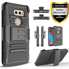 For LG V35 ThinQ Phone Case, Belt Clip Cover Combo+Tempered Glass Protector