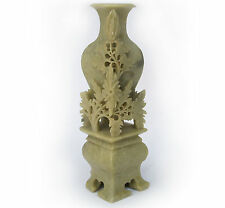 """6.5"""" Chinese China Natural Jadeite Master Carved Floral Vase Statue Sculpture"""