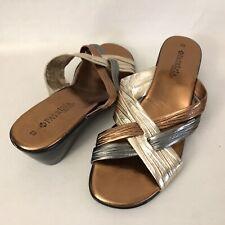 Patrizia by Spring Step Women's 40 US 9 Tri Color Metallic Slide Wedge Sandals