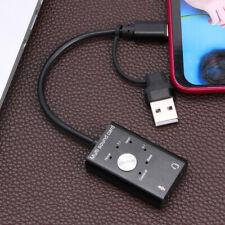 USB External Sound Card USB 2.0+Type C to 3.5mm Earphone Mic Jack Audio Adapter
