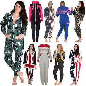 Womens Mens Fleece All In One Fleece Jumpsuit Aztec Camo Camouflage USA UK Flag