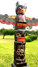 "INTRICATE HANDCARVED WOOD 20"" TALL X 4 INCH TOTEM POLE WITH DETACHABLE WINGS"