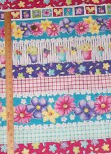 Retro Flowers Pots Picket Fence Plaid Stripe Fabric Traditions 2751 OOP BTY