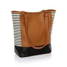 Thirty One Colorblock Tote (new) CARAMEL CHARM PEBBLE